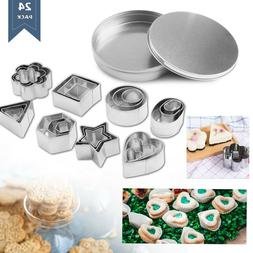 24 Sets Stainless Steel Biscuit Cutter Cake Mold Fondant Bak