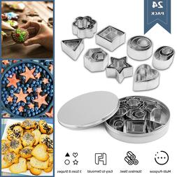 24x Biscuit Cutters Cookie Cutter Set Stainless Steel Baking
