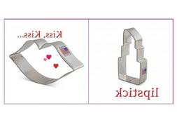 2pc Lips and Lipstick  Cookie Cutter Set, Kisses and Lipstic