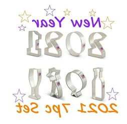 7pc New Year's Eve Cookie Cutter Set, 2021 Cookie Cutters, C