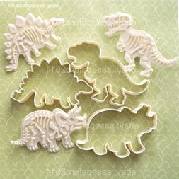 Dinosaur LARGE Cookie cutters with fossil stampers 6 pieces