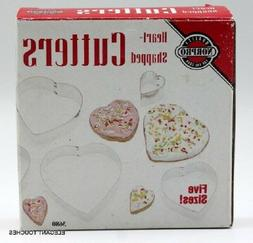 Norpro Heart-Shaped Cookie Biscuit Cutters Nesting Tin Set o