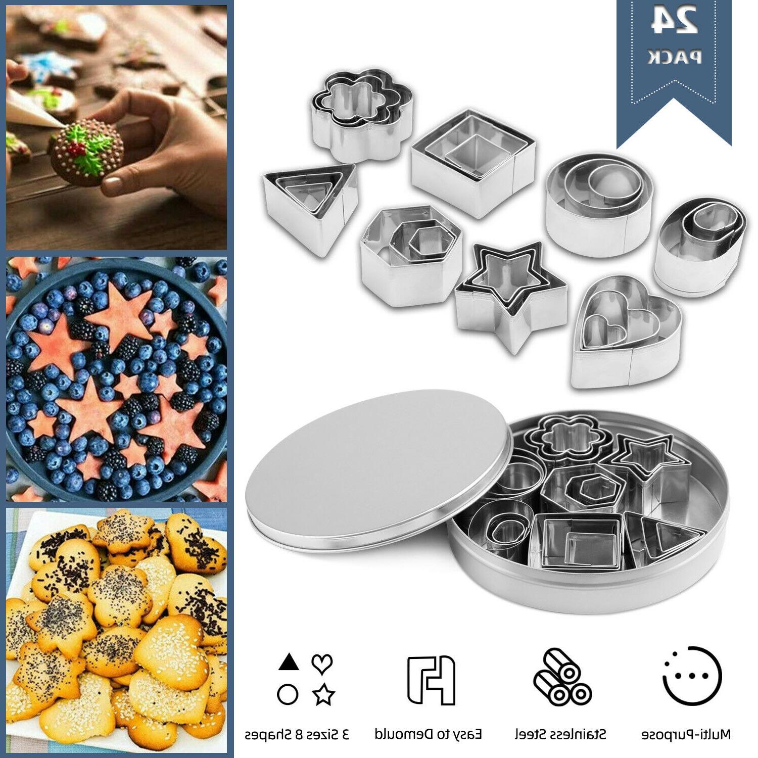 24x biscuit cutters cookie cutter set stainless