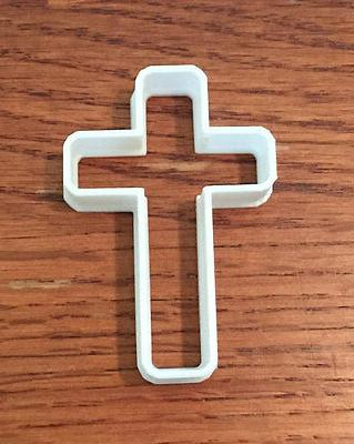 cross with rounded corners cookie and fondant