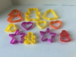 Lot 11 Cookie Cutters Plastic clay for kids  bells hearts be