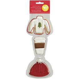 Wilton Painted Metal Cookie Cutters Set Winter Sweater Hat C
