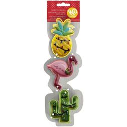 Wilton Painted Metal Cookie Cutters Tropical Flamingo Pineap