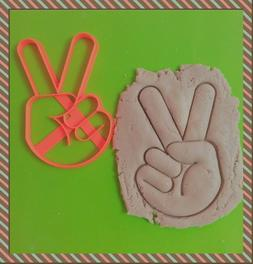 Peace Sign victory sign ASL Cookie Cutter Fondant Cake Decor