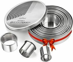 Round Cookie Biscuit Cutter Set, 12 Graduated Circle Pastry