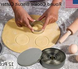 Round Cookie Biscuit Cutter Set 12 Pcs Pastry Stainless Stee