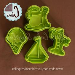 Beach Theme Plunger Cookie Cutter with stamp Set. 4 pcs.