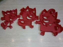Three cats STL. files To Create Cookie Cutters for 3D Printe
